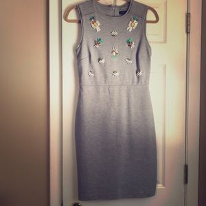 Banana Republic Grey dress with jeweled accents.